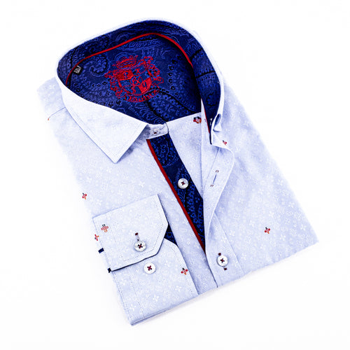 Fill Coupe Jacquard Shirt With Paisley Trim #M-859