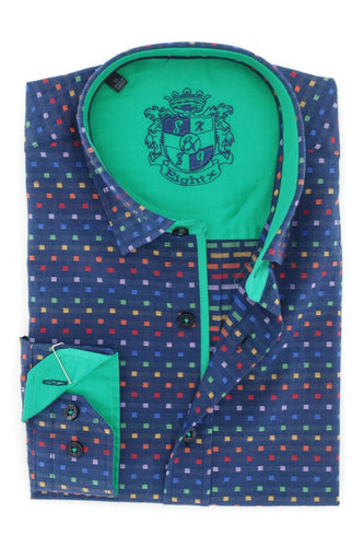 Navy Jacquard Shirt With Solid Green Trim #M-874