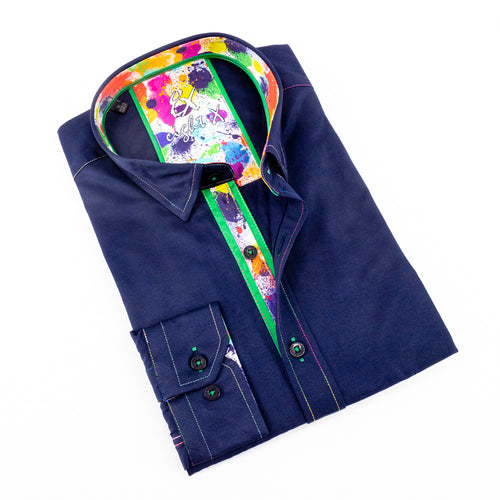 Mens Dress Shirt In Navy With Colorful Trim #M-882