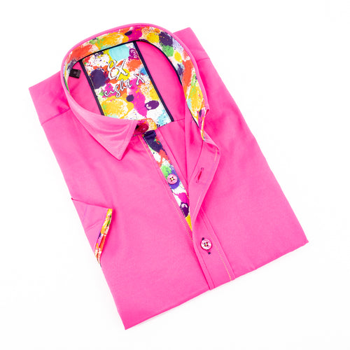 Fuchsia Short Sleeve Shirt With Colorful Trim