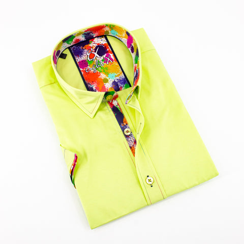 Green Short Sleeve Shirt With Colorful Trim