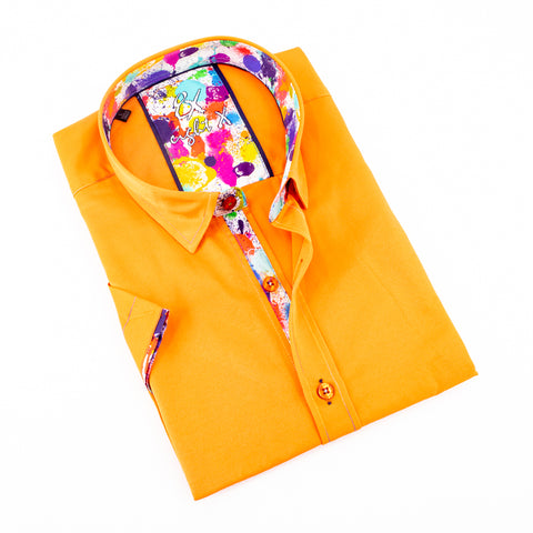 Orange Short Sleeve Shirt With Colorful Trim