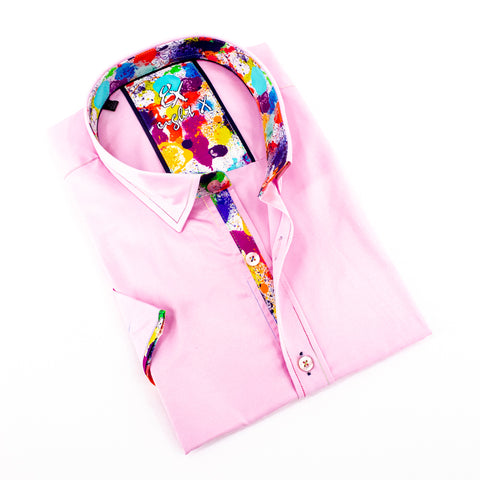 Pink Short Sleeve Shirt With Colorful Trim