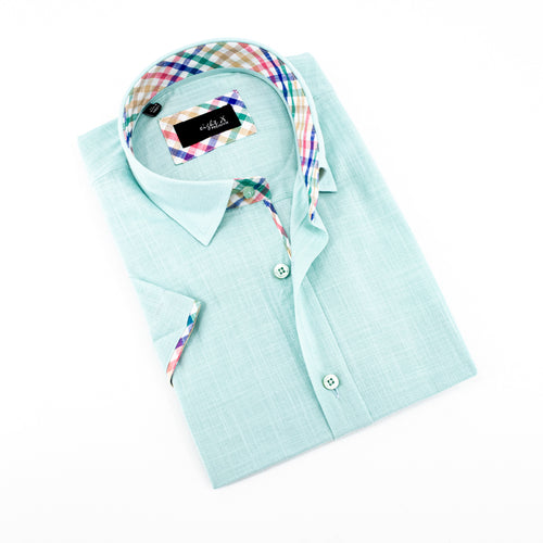 Light Green Linen Short Sleeve Shirt With Trim