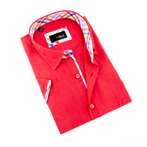Red Linen Short Sleeve Shirt With Trim