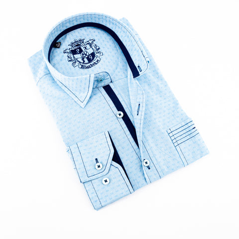 Aqua Jacquard Shirt With Pocket