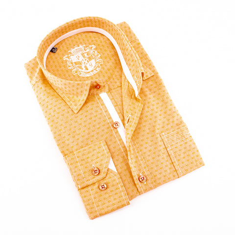 Orange Jacquard Shirt With Pocket