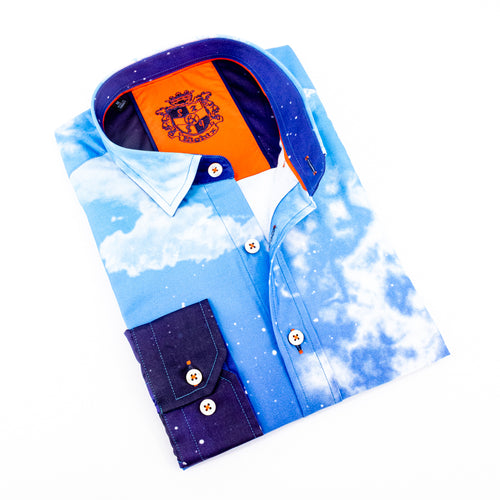Blue Splash Print Shirt With Trim #M-906