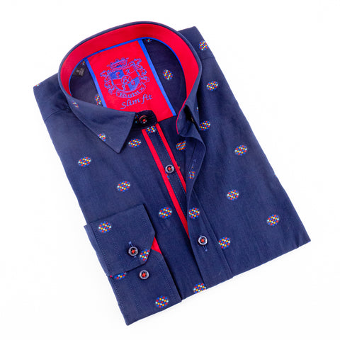Navy Fill Coupe Shirt With Trim