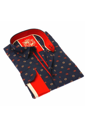 Navy Jacquard Shirt W/ Red Trim #M-917