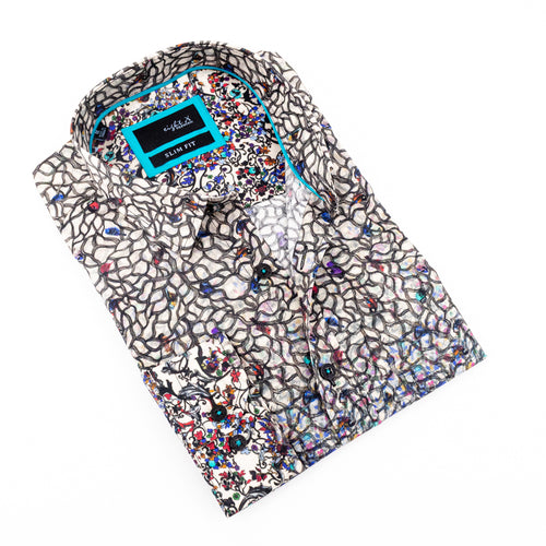 Colorful Floral Print Shirt #M-961
