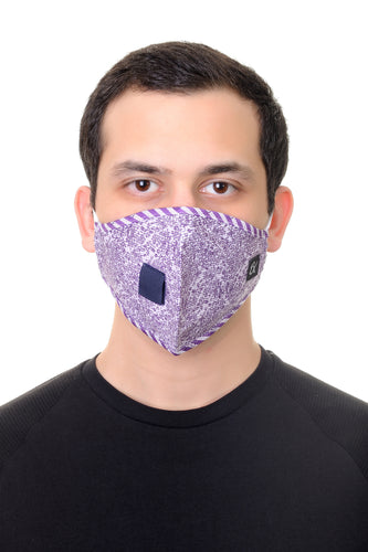 Face Mask W/ Straw Hole Lilac Floral Print
