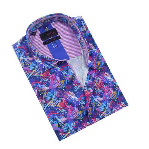 Folded, multi-colored button-up with striped front-yoke.