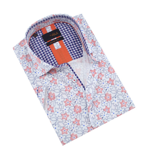 Folded white button up with white and red floral print and gingham front-yoke.