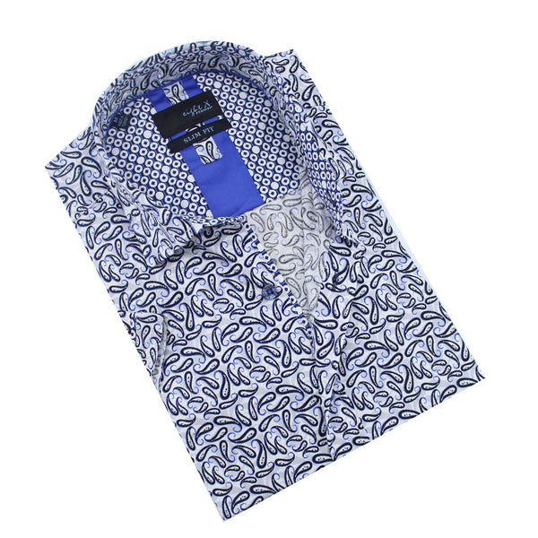 Folded short-sleeve white button-up in blue and navy paisley print.