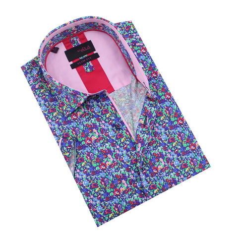 Folded short-sleeve button up with multi-color floral print design in blue, violet, fuchsia, pink, and green. Features fuchsia and pink trim.