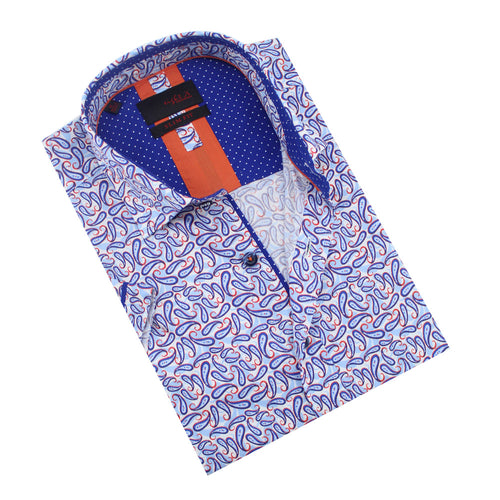 Folded short-sleeve white button-up in blue and red paisley print, with blue polka dot trim.