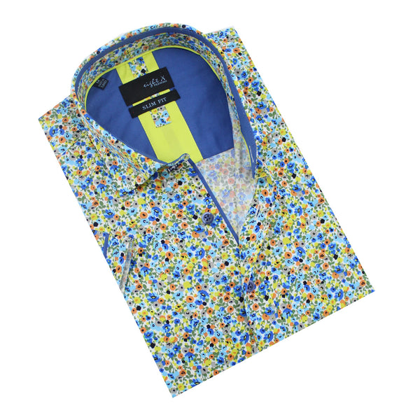 Folded, short-sleeve button-up with multi-colored floral print, and steel blue front-yoke.