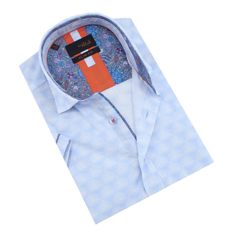 Folded powder-blue button-up with floral trim.