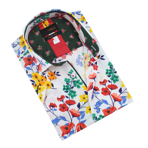 Folded, white slim-fit button up with multi-color impressionist floral print.
