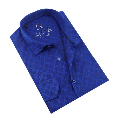 Folded royal-blue button up with diamond jacquard pattern.