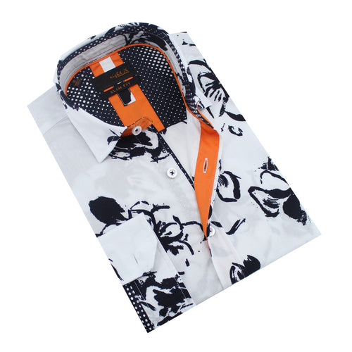 Folded white button-up with black floral brushstroke print.