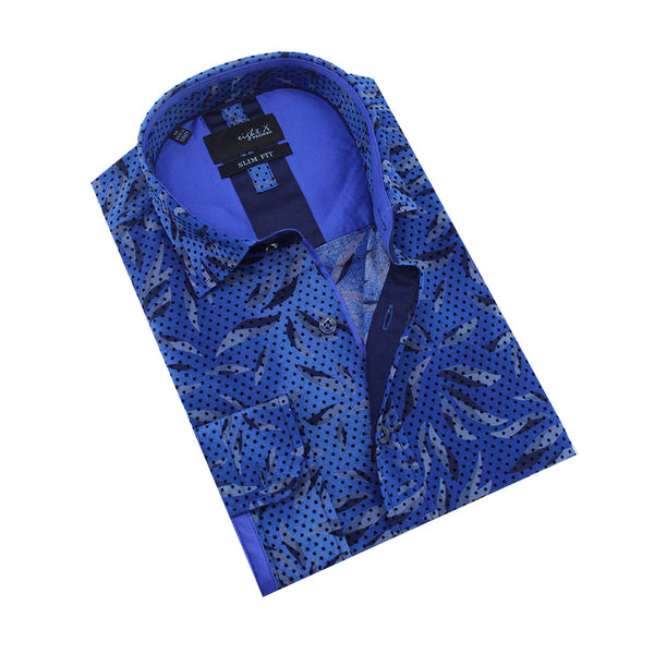 Folded royal-blue button up with leaf pattern and polka dot flocking.