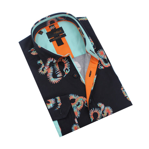 Black, folded button-up with blue and orange abstract snake print. Orange and aqua trim.