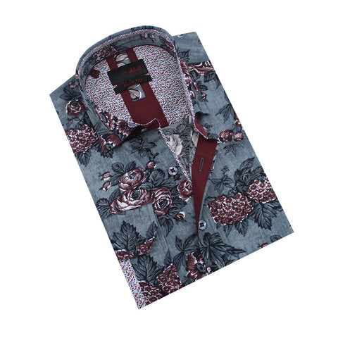 Folded gray button-up with oxblood floral print.