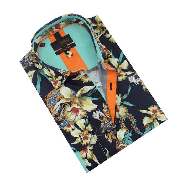 Folded black button-up with iris and dragon digital print and aqua front-yoke.