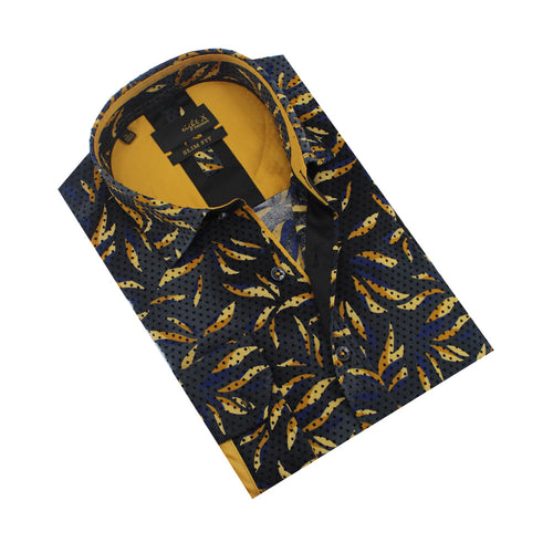 Yellow Leaf Flocking Print Shirt