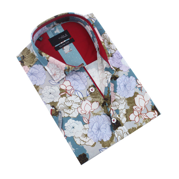 Folded button-up with multi-colored large floral print.