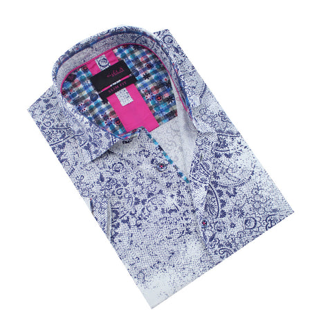 Folded short-sleeve white button-up in faded, navy paisley print.