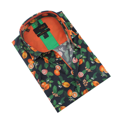 Folded, short-sleeve black button up with citrus print.