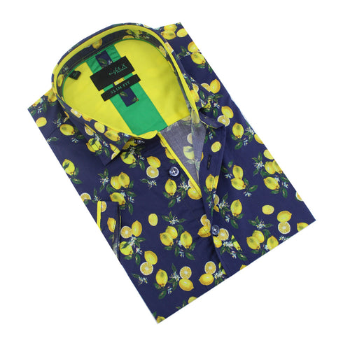 Folded navy-blue button-up with lemon print.