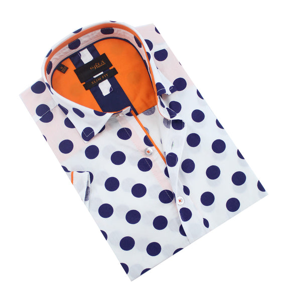 Folded white button-up with large navy polka-dot print.