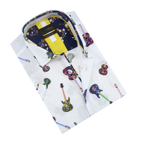Folded short-sleeve white button-up with colorful guitar print.