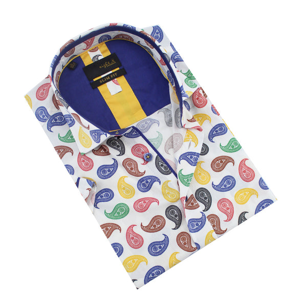 Folded short-sleeve white button-up with multi-color paisley print and navy front-yoke.