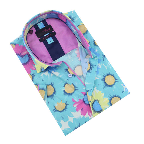 Folded button-up with large, aqua daisy print.