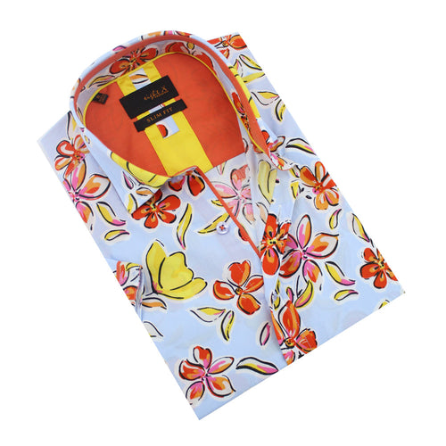 Folded light blue button-up with orange, Hawaiian flower print.