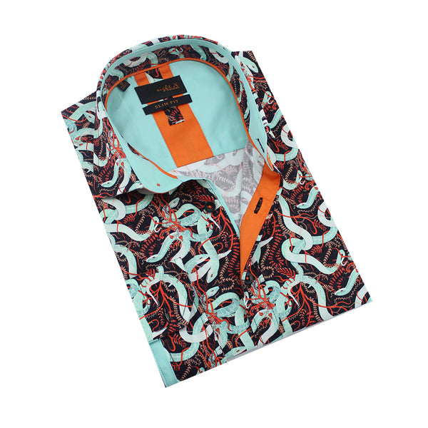 Folded black button-up with celeste snake and orange vine print. Features celeste and orange trim.