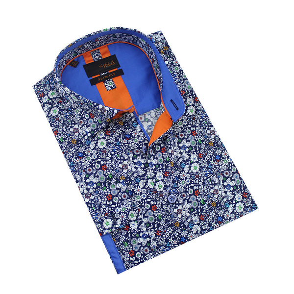 Folded navy-blue button-up with white floral print and blue front-yoke.