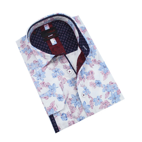 Folded vintage blue and burgundy floral print button-up.