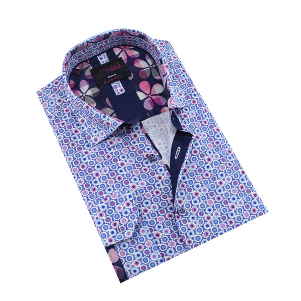 Folded blue button up with small floral print and plaid floral front-yoke and trim.