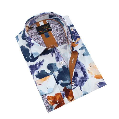 Watercolor Falling Flower Print Shirt