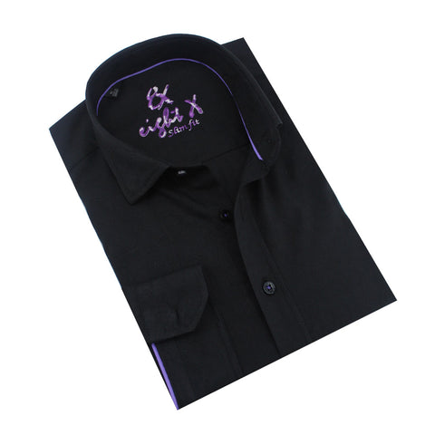 Folded black jacquard button-up with lilac trim.