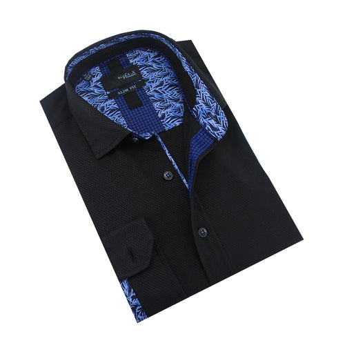 Textured Blue Lined Jacquard Shirt