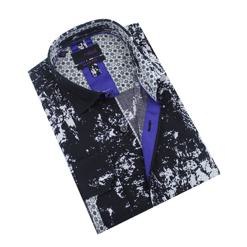 Folded button-up with black and white static print and blue trim.