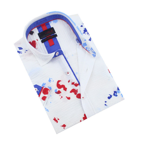 White short-sleeve seersucker button-up with red and blue ink spot design and blue trim.