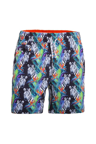 Men's black swim trunks with zebra and tropical print.